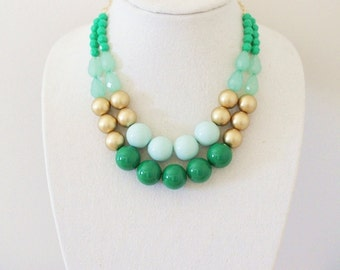 Emerald Mint and Gold Statement Necklace, Chunky Beaded Mint Necklace, Green Statement Necklace, Mint Bib Necklace