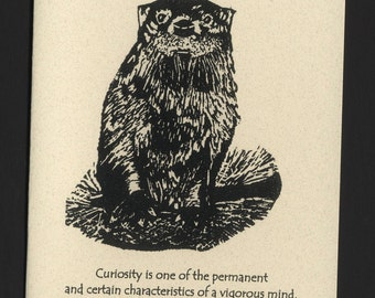 Card. Wildlife. Otter block print by Jesse Larsen on quality blank card with Samuel Johnson quote. Free US shipping.Timeless, smart. soulful