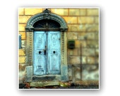 Vintage door Photography,  Architecture Fine Art Print , RusticTravel Photo, Yellow and blue wall decor PhotoByMADA