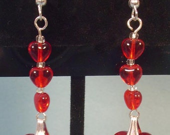 RED-HOT Heart Dangke Earrings - E025
