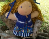 Waldorf Doll Dress and Sweater Set - Blue Butterflies