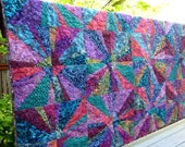 Cotton Batik Homemade Lap Couch Throw Quilt - Modern Contemporary Patchwork Quilt - Jewel Blue Teal Pink Purple - Doctor Who style decor