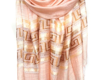 Pink Scarf. Champagne Pink Scarf. Sparkling Shawl. Bridesmaids Shawl. Glam Scarf Wedding Scarf. Metallic Scarf 20x70in (50x180cm) Ready2Ship