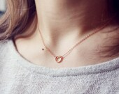 rose gold infinity circle necklace - karma, circle, friendship, minimalist jewelry / christmas gift for her under 15