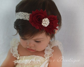 Burgundy Holiday Headband, Baby headband, newborn photo prop, christmas headband, infant headbands, baby hair bow, christmas bow