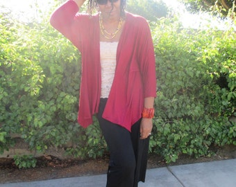 Drape Cardigan,  Lightweight Knit Cardigan, Three Quarter Bat Wing Knit Jacket, Open Front Wrap Cardigan - All Sizes / Color Options