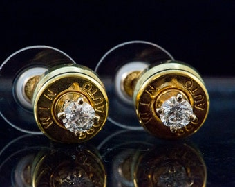 Bullet Ammo Stud, 14 K Yellow Gold 1/2 carat diamond 380 stud earrings-,14 carat gold backs ,Free US and Candianian Shipping