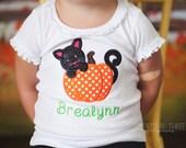 Applique Pumpkin with Kitten Shirt - Halloween Shirt - Kitty - Pumpkin - Personalized Fall Shirt - Glitter Shirt - Thanksgiving