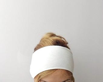 White extra wide headband stretch jersey large head band minimal sport headband workout cotton headwrap light neutral