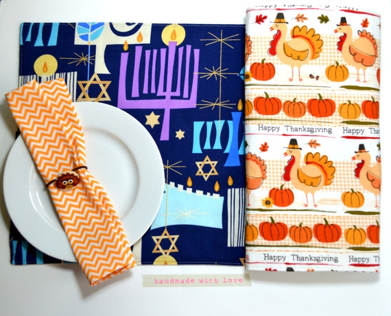 Thanksgivukkah Placemat / Thanksgiving and Hanukkah Reversible Place mat / Kids Place mat / Thanksgiving Table Decor