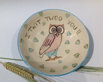 Ring Dish Soap Dish hand painted owls Gift Handmade in UK