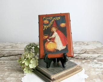 Vintage Style Halloween Decor orange black girl witch canvas frame antiqued crackle pumpkin 5x7 folk art primitive farmhouse cottage chic