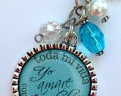 Spanish version Mother of the Groom Necklace, Yo amare a tu hijo fe toda mi vida con todo mi corazon, mother in law beautiful quote