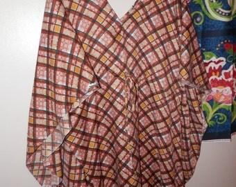 Picnic Full length Dress Beige, Brown, Mustard-Green Checkered Checks Polyester Kaftan Turkish Indian Dress