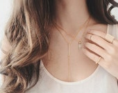 Bar Lariat Necklace - 16K Gold plated