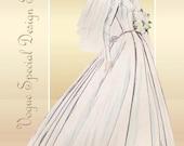 1950s Dress Pattern Vogue S4747 Special Design Gorgeous Wedding Dress and Tea Length Bridesmaid Dress
