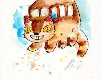 Catbus Original Painting 8x10 inches, My Neighbor Totoro inspired. Hayao Miyazaki