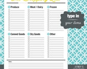 The Shopping [or Grocery] List Printable PDF - Editable