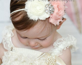 Ivory and Peach Baby Headband, Infant Headband, Newborn Headband, Light Peach and Ivory Headband - Shabby Chic Headband