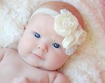 Ivory Baby Headband, Infant Headband, Newborn Headband, Shabby Chic Headband, Ivory Triple Chiffon Flower Headband, Ivory Chiffon headband