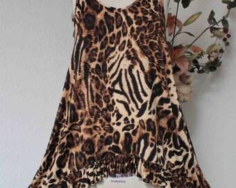 Elegant Plus Size ANIMAL PRINT Sleeveless Tunic Boho, Travel,Comfort.