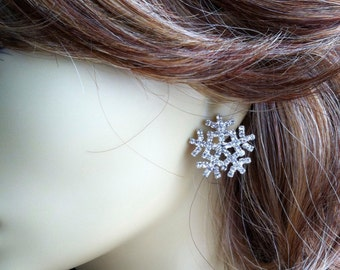Snowflake earrings, winter jewelry, snowflake jewelry, holiday, christmas, Winter Wedding, winter, rhinestone bridesmaid gift
