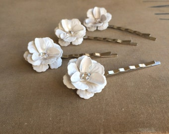 wedding hairpins 4 pc, vintage bridal hairpin, white, flower hairpin,bridesmaid gift,  swarovski crystal, flower floral rose