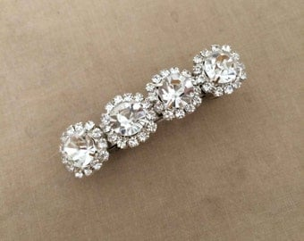 rhinestone barrette, gift for her,winter wedding, bridal hair clip, wedding barrette, bridal rhinestone art deco hair accessories SILVER 4
