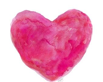 Hot Pink Heart Watercolor 5x7 Print, Hot Pink Decor, Fuchsia, Bright Pink Art, Hot Pink Nursery Art, Girls Room Decor, Small Heart Print