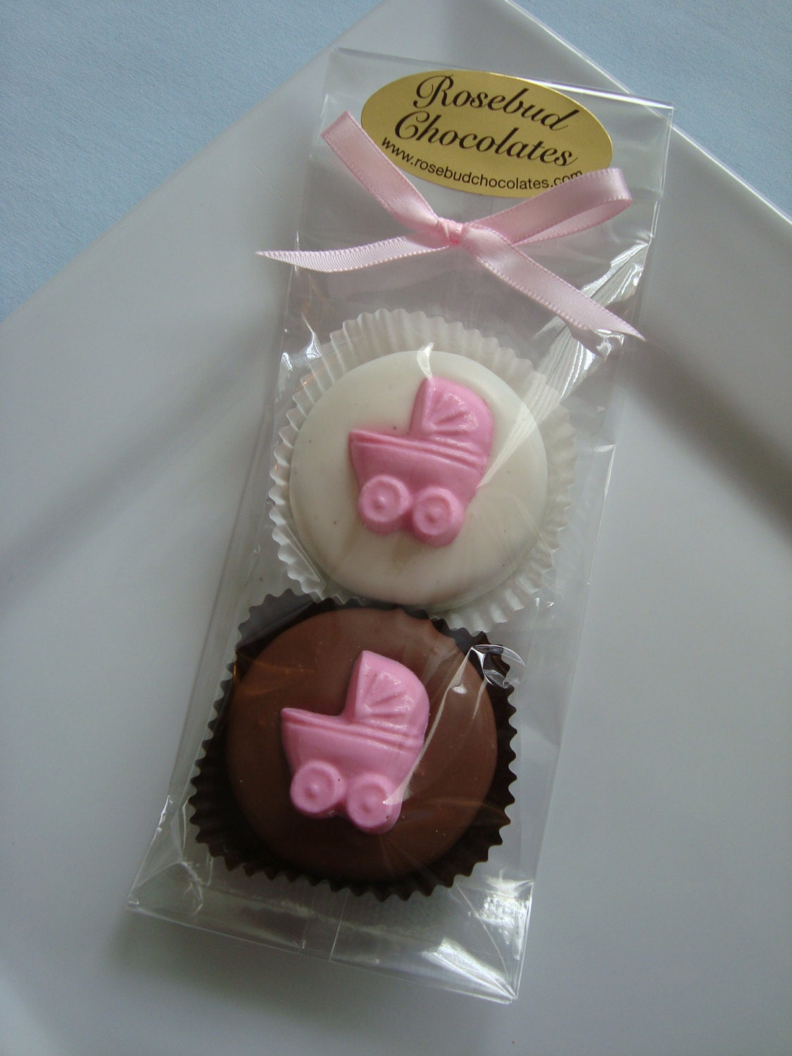 Baby Shower Favors Chocolate ~ Chocolate double buggy cookies it s twins