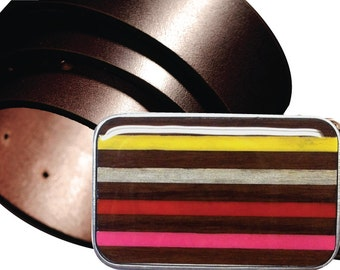 INTERCHANGEABLE Magnetic belt buckle, Pink and Orange Striped buckle, Stripe buckle, Wood buckle, Yellow belt buckle, Spring Striped Buckle