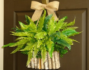 spring wreath boxwood boston fern wreath front door wreaths decor birch bark vase wreath