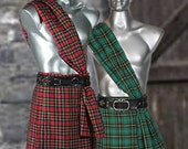 Renaissance Medieval Pirate Scott Kilt Men's Scottish Kilt Tartan with Scarf Union Kilt Style No. 1