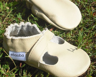 soft sole baby shoes handmade infant gift sandals beige 12-18m ebooba SN-41-BE-M-3
