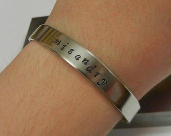 Misandry Hand Stamped Bracelet - Feminism jewelry smash the patriarchy bracelet feminist killjoy feminist jewelry ironic jewelry yes all men