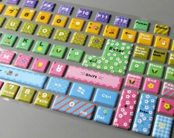 1 Sheet 3D Keyboard Sticker - Keyboard Decals - PVC Sticker - Mixed Colors