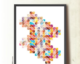 """Poster art print. Geometric wall art, """"Fragments of a Lost World"""". Abstract Art Print A3. Modern Contemporary. Mid Century Modern Inspired"""
