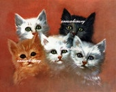 Kittens - Five Little Kittens - RESTORED Art PRINT - Black Kitten, White Kitten, Tabby Kitten Cat Lover Gift