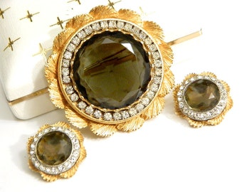 Krementz 14K Gold Brooch And Earring Set Vintage Smoky Topaz Jewelry High Fashion Gold Overlay Modern Art Deco Style For Women