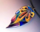 Enamel leaf  Pendant (Vitreous enamel jewelry)     cloisonne, stylized
