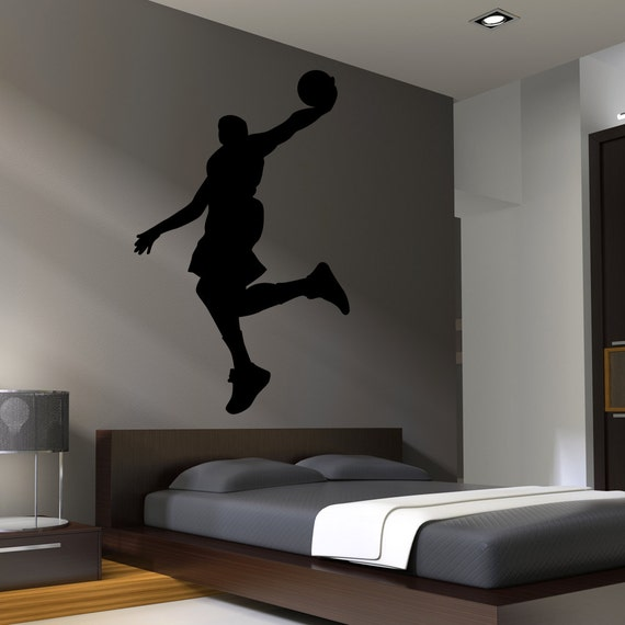 Basketball wall decal decor art stickers boys room by for Boys room mural