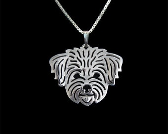Shih-Tzu (in puppy/pet haircut) - sterling silver pendant and necklace