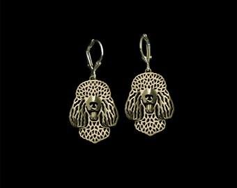 Irish Water Spaniel earrings - gold.