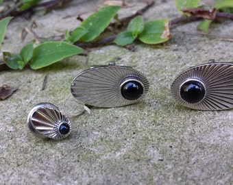 Solid Sterling Silver Cuff Links and Tie Tack Pin A239
