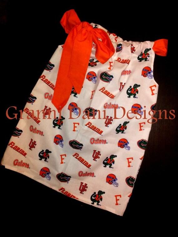 florida university GATORS pillowcase dress 0 3 6 9  12 18 Months 2T 3T 4T 5T baby toddler girl football
