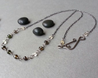 Gray Amber White Sterling Silver Gemstone Rosary Chain Necklace Oxidized Silver Tundra Sapphires Minimalist Fine Feminine Artisan Jewelry