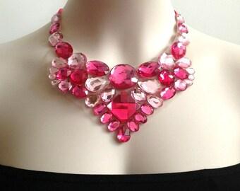 pink bib necklace - hot pink, fuchisa and light pink bib necklace, prom, bridesmaids rhinestone unique bib necklace