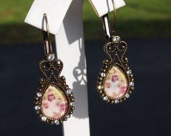 Custom Pear Dangle Earrings W/ Rhinestones