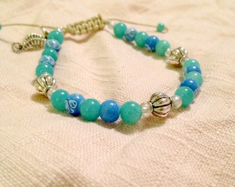 Beachy Chic Adjustable Beaded Bracelet- Blue Teal and Silver