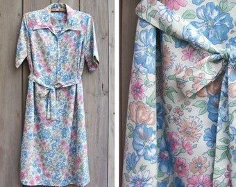 Vintage dress | Pastel floral print dress with fabric sash
